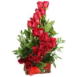 Cesta de Rosas Rojas Espiral