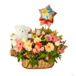 Canastillo de flores gigante para cumpleaños
