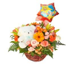 Rosas de Cumpleanos en Canastillo + Globo + Peluche