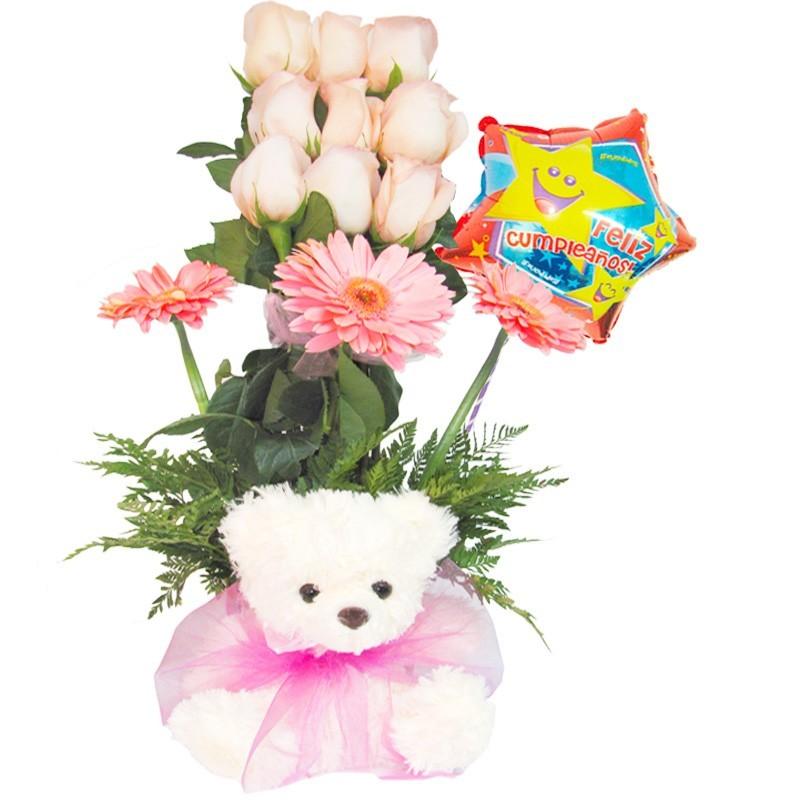 Rosas en Canastillo para Cumpleanos + Globo + Peluche