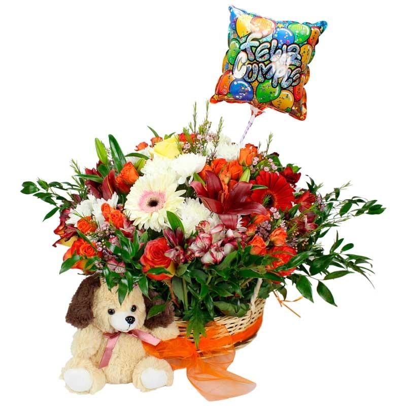 Canastillo de Cumpleaños con Rosas y Flores mix + Peluche y Globo