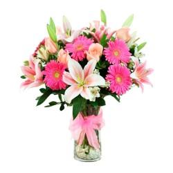 Florero con Flores Mix