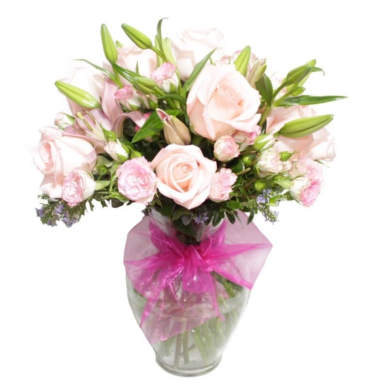 Florero con 12 Rosas Rosadas + Liliums + Mini Rosas