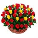 Cesta Redonda de 40 Rosas Rojas y Amarillas