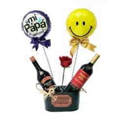 Cubeta de 1 Vino Casillero del Diablo más 1 Baileys Espresso 1 Rosa y 2 Globos para el Día del Padre
