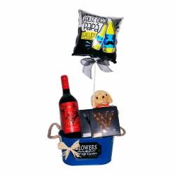 Cubeta Vino Diablo 1 Gragea Rubio Avellana y 1 Amande Lait con 1 Globo Día del Padre