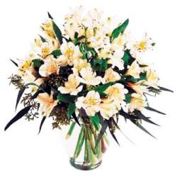 Florero para Condolencias Flores de Astromelias Blancas
