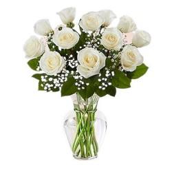 Florero para Condolencias 12 Rosas Blancas