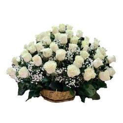 Arreglo 40 Rosas Blancas para Condolencias