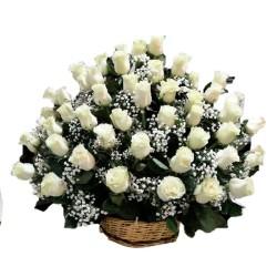 Arreglo 50 Rosas Blancas para Condolencias