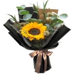 Ramo de 1 Girasol Más flores mix y Eucalipto