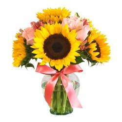 Florero con 5 Girasoles Más 5 Rosas