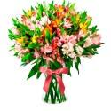 Florero con 40 Varas de Astromelias Multicolores
