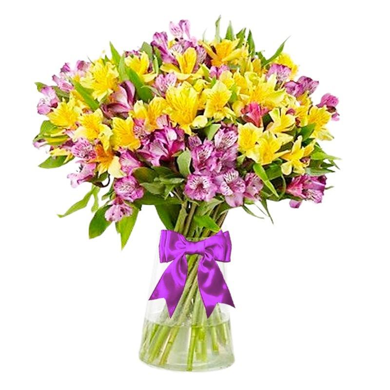 Florero con 10 Astromelias Amarillas y 10 Rosadas y Flores mix