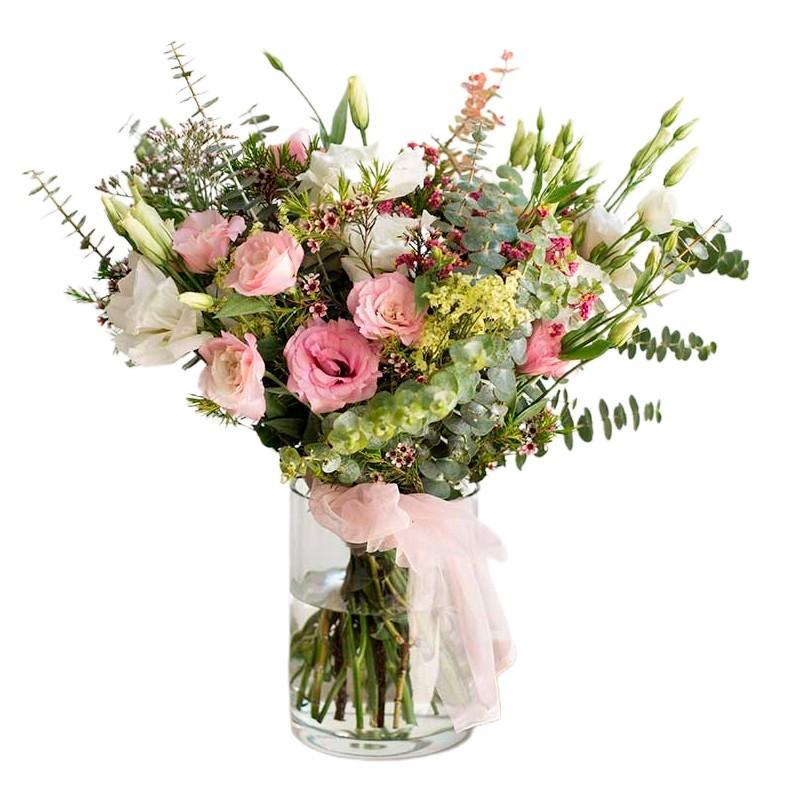 Florero con 10 Lisianthus Rosados más Flores Rústicas y Eucaliptos
