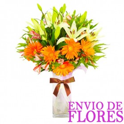 Florero 10 Liliums y 10 Gerberas