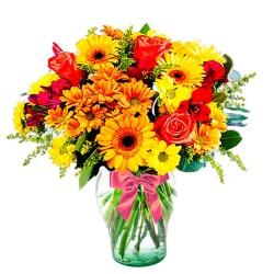 Florero en Tonos Naranja con 5 rosas Mables Gerberas y Solidagos