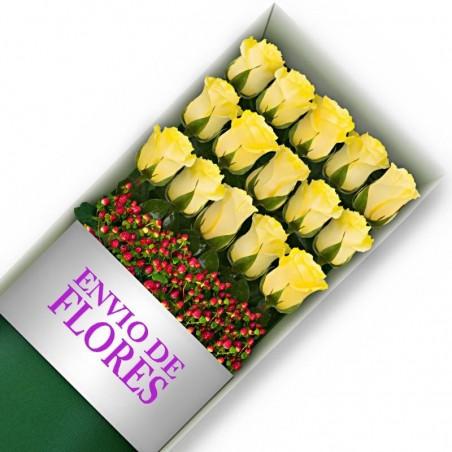 Caja de 15 Rosas Amarillas
