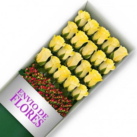 Caja 20 Rosas Amarillas
