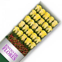 Caja de 24 Rosas Amarillas