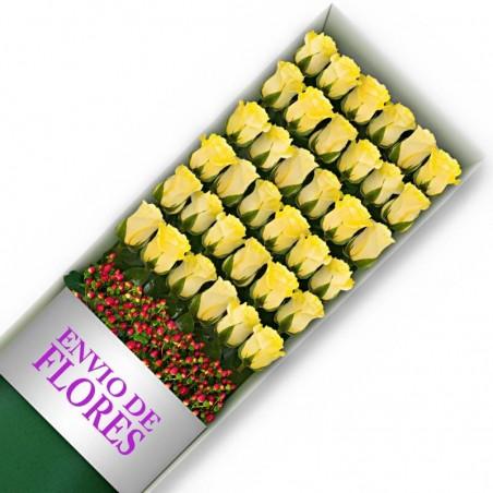 Caja de 36 Rosas Amarillas