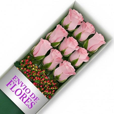 Caja de 9 Rosas Rosadas