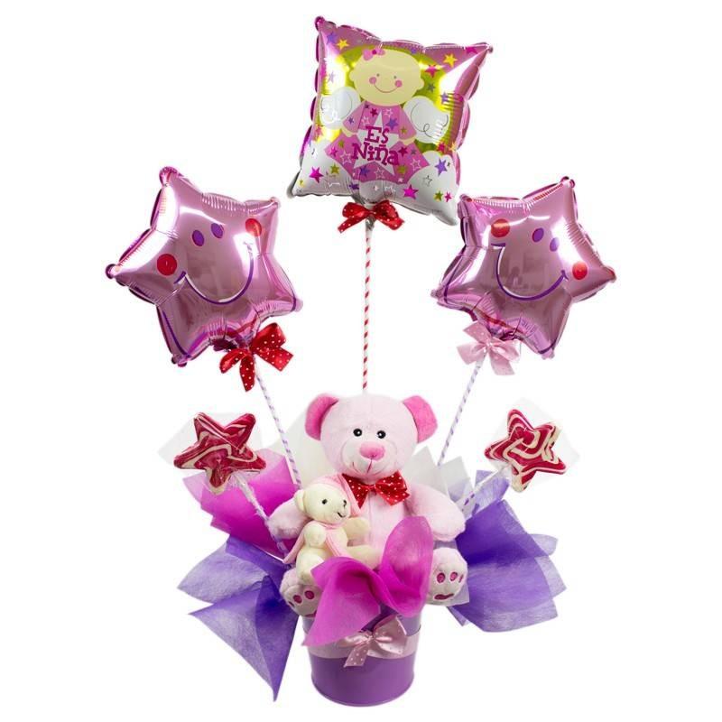 Arreglo De Nacimiento Con Globos Para Niña Envio De Flores