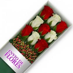 Caja de 9 Rosas Mix Rojas y Blancas