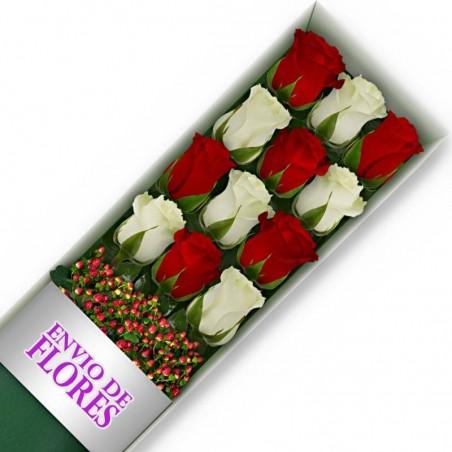 Caja de 12 Rosas Mix Rojas y Blancas