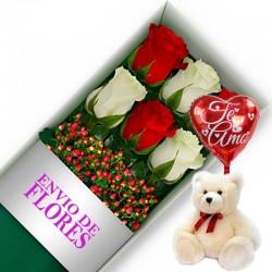 Caja de 6 Rosas Mix Rojas y Blancas más Peluche y Globo