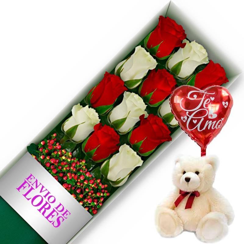 Caja de 12 Rosas Mix Rojas y Blancas más Peluche y Globo