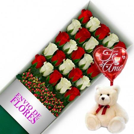 Caja de 24 Rosas Mix Rojas y Blancas + Peluche y Globo