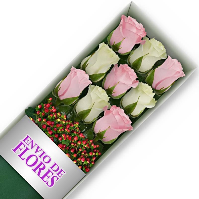 Caja de 9 Rosas Mix Rosadas y Blancas