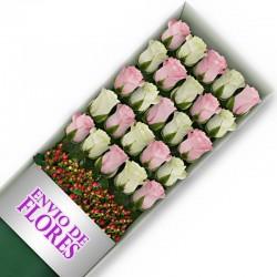 Caja de 25 Rosas Mix Rosadas y Blancas
