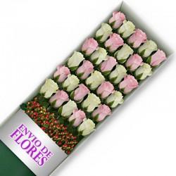 Caja de 30 Rosas Mix Rosadas y Blancas