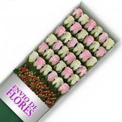 Caja de 36 Rosas Mix Rosadas y Blancas