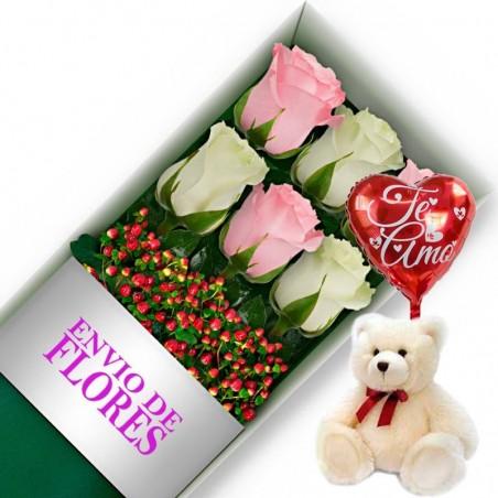 Caja de 6 Rosas Mix Rosadas y Blancas + Peluche y Globo