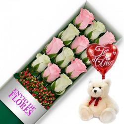 Caja de 12 Rosas Mix Rosadas y Blancas + Peluche y Globo