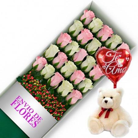 Caja de 24 Rosas Mix Rosadas y Blancas + Peluche y Globo